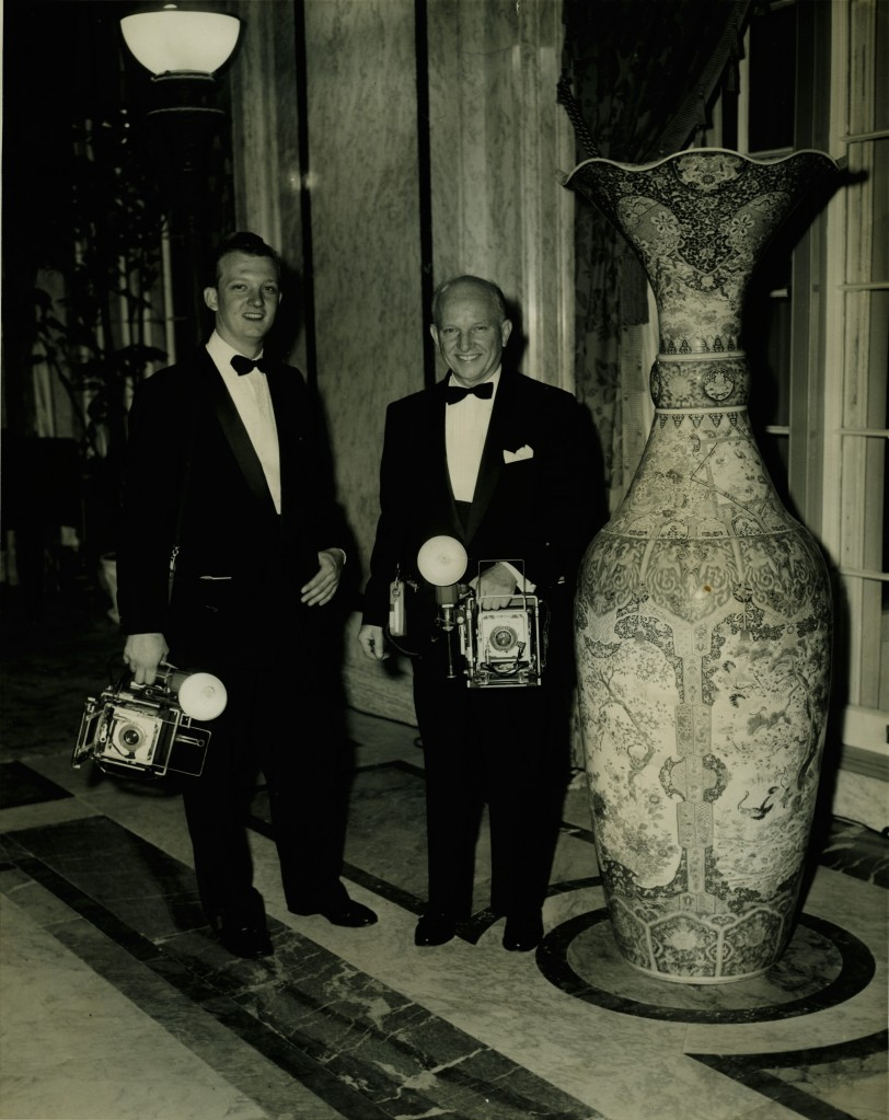 Bert Morgan and his son Richard at work in the 1950s